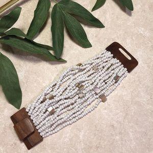 Jewelry - Wood, white beads, abalone? Stretch bracelet